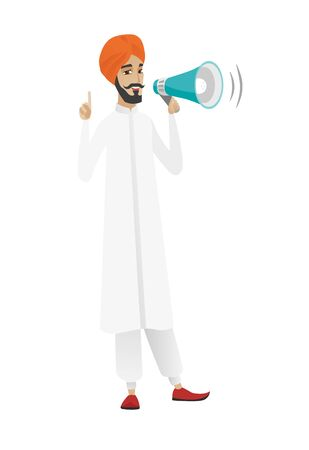 Hindu businessman with loudspeaker making an announcement. Full length of businessman making an announcement through a loudspeaker. Vector flat design illustration isolated on white background. Illustration