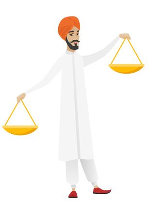 Hindu businessman holding balance scale. Young businessman with a balance scale in hands trying to make a right decision in business. Vector flat design illustration isolated on white background
