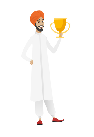 businessperson: Hindu businessman holding golden trophy. Full length of young businessman with trophy. Happy businessman celebrating with trophy. Vector flat design illustration isolated on white background. Illustration