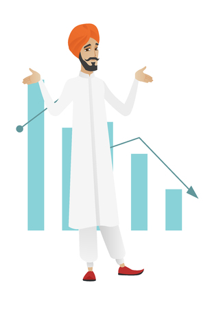 poverty: Hindu bancrupt standing on the background of decreasing chart. Young bancrupt businessman with spread arms. Business bankruptcy concept. Vector flat design illustration isolated on white background