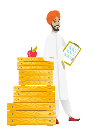 Hindu farmer holding a clipboard with documents. Full length of young farmer holding documents near crates. Farmer holding documents. Vector flat design illustration isolated on white background.