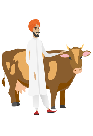 Young hindu farmer stroking cow. Farmer in headscarf standing near cow. Smiling cow breeder standing in front of cow. Vector flat design illustration isolated on white background.