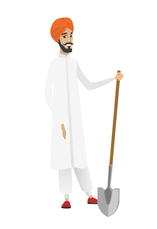 Friendly hindu farmer standing with a shovel. Full length of young farmer in headscarf holding a shovel. Gardener with a spade. Vector flat design illustration isolated on white background. Illustration