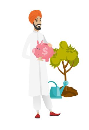 Hindu farmer holding piggy bank with dollar sign on the background of tree and watering can. Full length of young farmer with piggy bank. Vector flat design illustration isolated on white background. Illustration