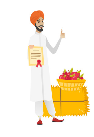 Young hindu farmer holding certificate on the background of hay bale and basket of apples. Farmer showing certificate and thumb up. Vector flat design illustration isolated on white background.