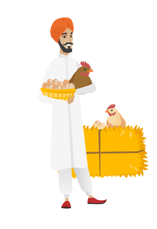 Young hindu farmer standing with basket of hens eggs and chicken on the background of hay bale. Farmer holding chicken and basket of eggs. Vector flat design illustration isolated on white background Illustration
