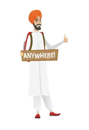 anywhere: Traveler hitchhiking with tablet with text anywhere. Hitchhiking traveler trying to stop car. Traveler catching car and showing thumb up. Vector flat design illustration isolated on white background. Illustration