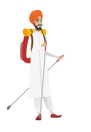 Young hindu man hiker walking with trekking sticks. Man hiker holding trekking sticks. Man backpacker hiking with trekking sticks. Vector flat design illustration isolated on white background. Illustration