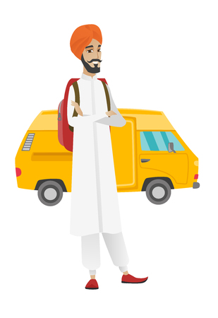 Young hindu traveler with backpack standing with folded arms on the background of minibus. Cheerful traveler going to vacation by minibus. Vector flat design illustration isolated on white background