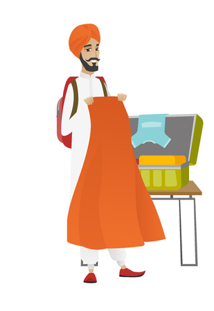 Hindu traveler man putting clothes into a suitcase. Traveler man packing clothes in an opened suitcase. Man preparing for vacation. Vector flat design illustration isolated on white background. Illustration