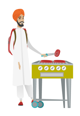Young hindu traveler man cooking steak on barbecue grill. Full body portrait of happy traveler man with backpack having barbecue party. Vector flat design illustration isolated on white background.