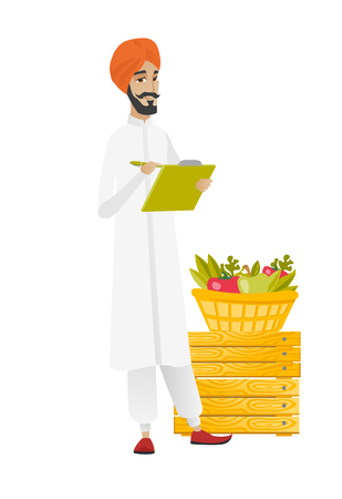 Hindu farmer writing on clipboard. Illustration