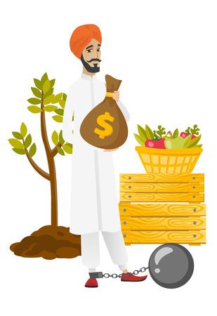 taxpayer: Chained hindu farmer holding a money bag.