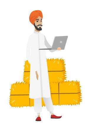 Hindu farmer using laptop. Illustration
