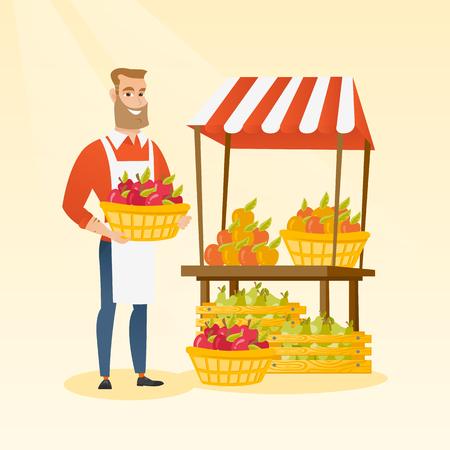 Jong Kaukasisch de dooshoogtepunt van de groentehandelaarholding van appelen. Hipstergroothandelaar met baard die zich voor kruidenierswinkelbox met groenten en vruchten bevinden. Vector platte ontwerp illustratie. Vierkante lay-out. Stockfoto - 81272130