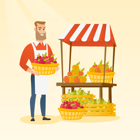 Young caucasian greengrocer holding box full of apples. Hipster greengrocer with beard standing in front of grocery stall with vegetables and fruits. Vector flat design illustration. Square layout. Illustration