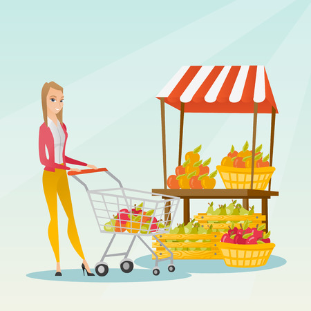 mujer en el supermercado: Young caucasian woman pushing a supermarket cart with some vegetables and fruits in it. Cheerful woman shopping in the store with a cart. Vector flat design illustration. Square layout.