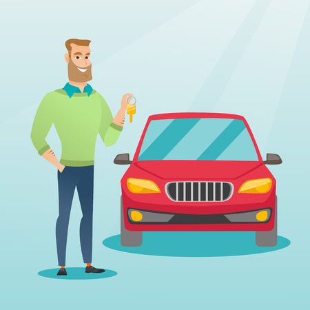 Young caucasian man holding keys to his new car. Happy man showing key to his new car. Hipster man with beard standing on the backgrond of new car. Vector flat design illustration. Square layout. Illustration