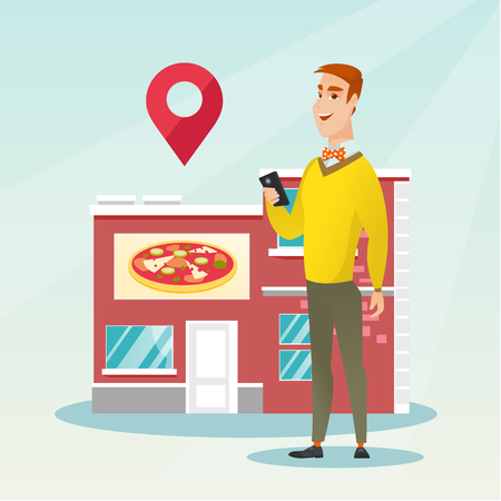 Man holding a smartphone with mobile app for looking for a restaurant. Young man using a smartphone on the background of the restaurant with map pointer. Vector flat design illustration. Square layout