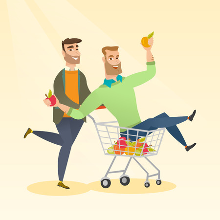 Happy caucasian man pushing a shopping trolley with his friend. Couple of young hipster carefree friends having fun while riding in shopping trolley. Vector flat design illustration. Square layout. Illustration