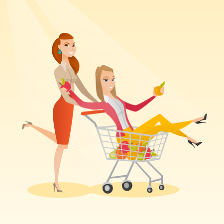 Happy caucasian woman pushing a shopping trolley with her friend. Couple of young carefree friends having fun while riding in shopping trolley. Vector flat design illustration. Square layout.
