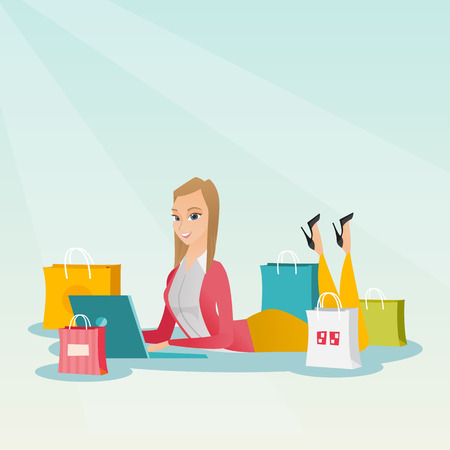 Young caucasian woman using a laptop for online shopping. Smiling woman lying with a laptop and shopping bags around her. Woman doing online shopping. Vector flat design illustration. Square layout.