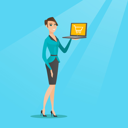 Young caucasian woman using a laptop for shopping online. Happy woman holding a laptop with a shopping trolley on screen. Woman doing online shopping. Vector flat design illustration. Square layout.