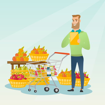 Young caucasian man standing near trolley with products and checking shopping list on the background of supermarket section with vegetables and fruits. Vector flat design illustration. Square layout. Illustration