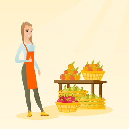 Young caucasian seller giving thumb up while standing on the background of shelves with vegetables and fruits. Seller selling fruits and vegetables. Vector flat design illustration. Square layout. Vectores
