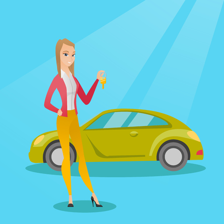 Young caucasian woman holding keys to her new car. Happy woman showing key to her new car. Smiling cheerful woman standing on the backgrond of new car. Vector flat design illustration. Square layout.