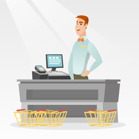 Young caucasian cashier standing at the checkout with cash register in the supermarket. Smiling cashier working at the checkout in the supermarket. Vector flat design illustration. Square layout.