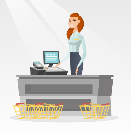 reader: Young caucasian cashier standing at the checkout with cash register in the supermarket. Smiling cashier working at the checkout in the supermarket. Vector flat design illustration. Square layout.
