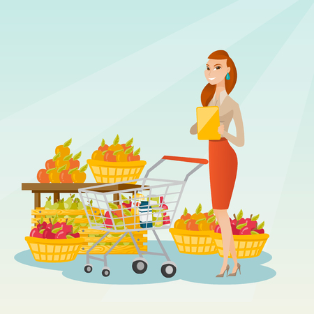 Young caucasian woman standing near trolley with products and checking shopping list on the background of supermarket section with vegetables and fruits. Vector flat design illustration. Square layout