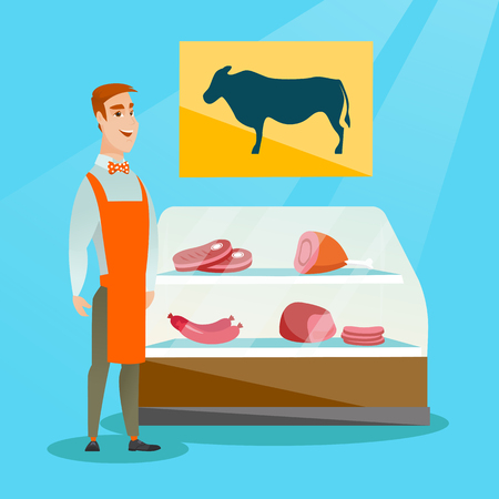offering: Young caucasian salesman offering fresh meat in the butcher shop. Smiling butcher standing on the background of the showcase of butcher shop. Vector flat design illustration. Square layout. Illustration