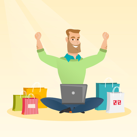 Young caucasian hipster man with beard using laptop for online shopping. Happy man with arms up sitting among shopping bags. Man buying purchases online. Vector flat design illustration. Square layout