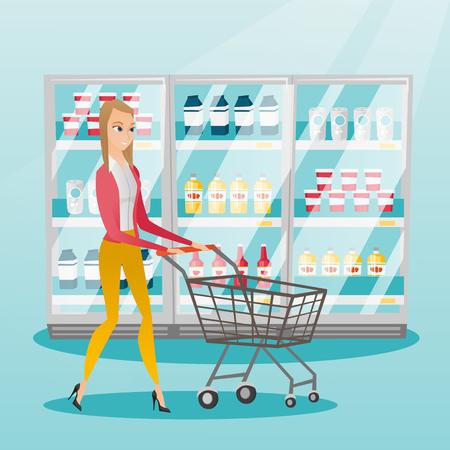 mujer en el supermercado: Young caucasian woman pushing empty supermarket trolley. Woman shopping in the supermarket with trolley. Woman walking with trolley in the supermarket. Vector flat design illustration. Square layout. Vectores