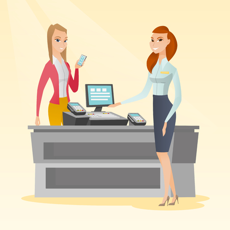 cashless payment: Young caucasian woman paying wireless with a smartphone at the supermarket checkout. Smiling woman making payment for purchases with a smartphone. Vector flat design illustration. Square layout. Illustration