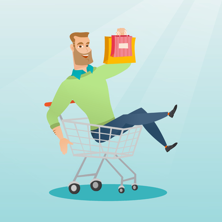 humorous: Young carefree customer having fun while riding in a shopping trolley. Cheerful caucasian man with a lot of shopping bags sitting in a shopping trolley. Vector flat design illustration. Square layout. Illustration