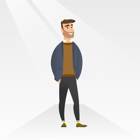 Caucasian man posing on the catwalk on a fashion event. Model walking on the catwalk during a fashion week. Man standing on catwalk during fashion show. Vector flat design illustration. Square layout.