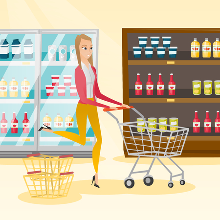 mujer en el supermercado: Young caucasian woman pushing a shopping trolley. Happy woman running with an empty shopping trolley in the store. Concept of shopping. Vector flat design illustration. Square layout.
