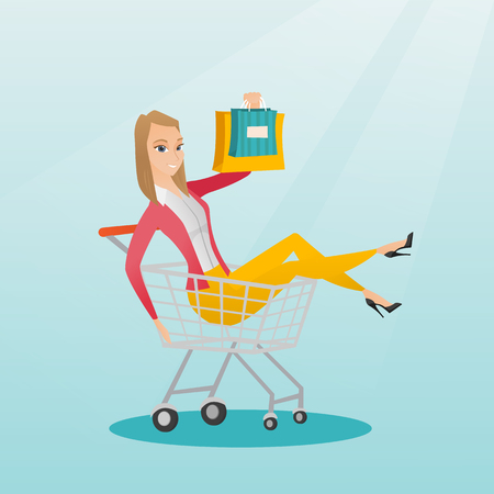 Young carefree customer having fun while riding in shopping trolley. Cheerful caucasian woman with a lot of shopping bags sitting in a shopping trolley. Vector flat design illustration. Square layout.