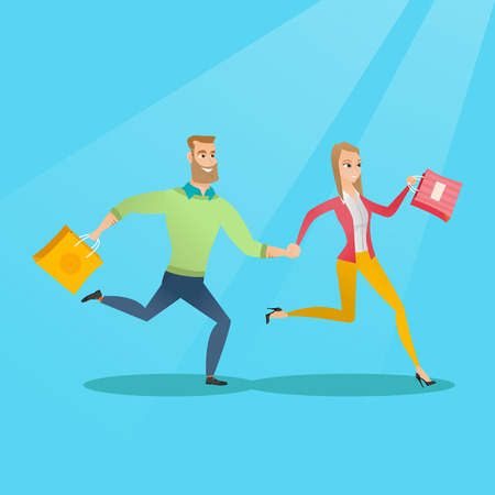Young caucasian happy man and woman rushing to promotion and sale in the shop. Cheerful man and woman running in a hurry to the store on seasonal sale. Vector flat design illustration. Square layout.