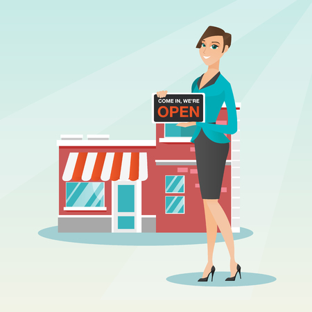 come in: Friendly caucasian shop owner holding a signboard with the text open. Shop owner standing in front of small store. Woman inviting to come in her shop. Vector flat design illustration. Square layout.