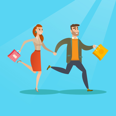 Young caucasian happy woman and man rushing to promotion and sale in the shop. Cheerful woman and man running in a hurry to the store on seasonal sale. Vector flat design illustration. Square layout.