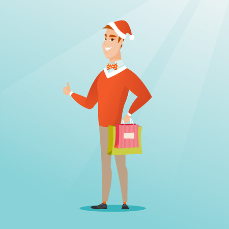 Young caucasian man in santa hat holding shopping bags with christmas gifts and giving thumb up. Excited smiling man shopping for christmas gifts. Vector flat design illustration. Square layout. Illustration