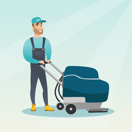 Young caucasian cleaner with cleaning equipment. Hipster worker cleaning the store floor with a cleaning machine. Worker of supermarket cleaning service. Vector flat design illustration. Square layout
