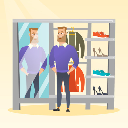 Young caucasian man looking in the mirror in the dressing room. Man trying on sweater in the dressing room. Man choosing clothes in the dressing room. Vector flat design illustration. Square layout.  イラスト・ベクター素材