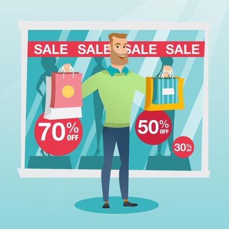 Jonge Kaukasische mens die het winkelen zakken voor winkelvenster tonen met verkoopteken. Hipstermens die zich op de achtergrond van winkelvenster met tekstverkoop bevinden. Vector platte ontwerp illustratie. Vierkante lay-out.