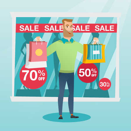 Young caucasian man showing shopping bags in front of shop window with sale sign. Hipster man standing on the background of shop window with text sale. Vector flat design illustration. Square layout.