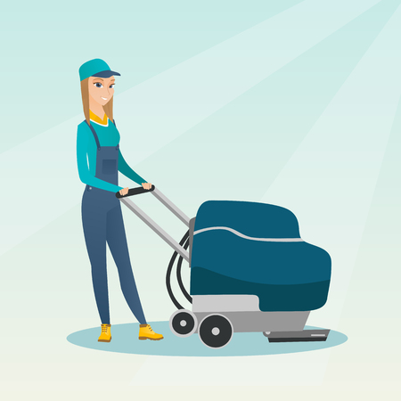 Young caucasian cleaner with cleaning equipment. Worker cleaning the store floor with a cleaning machine. Worker of supermarket cleaning service. Vector flat design illustration. Square layout.